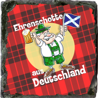Honorary Scot From Germany, Small Slate Coaster. JB_15_SSC
